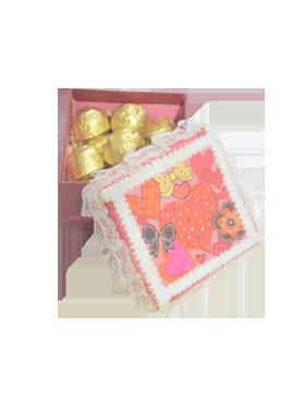 White Lace Ribbon Red Square Box