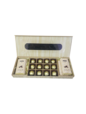 Wooden Rectangle Gift Box With Chocolate Bars
