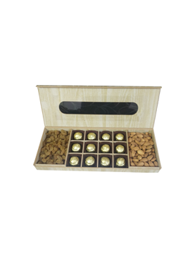 Wooden Rectangle Gift Box With Dry Fruits